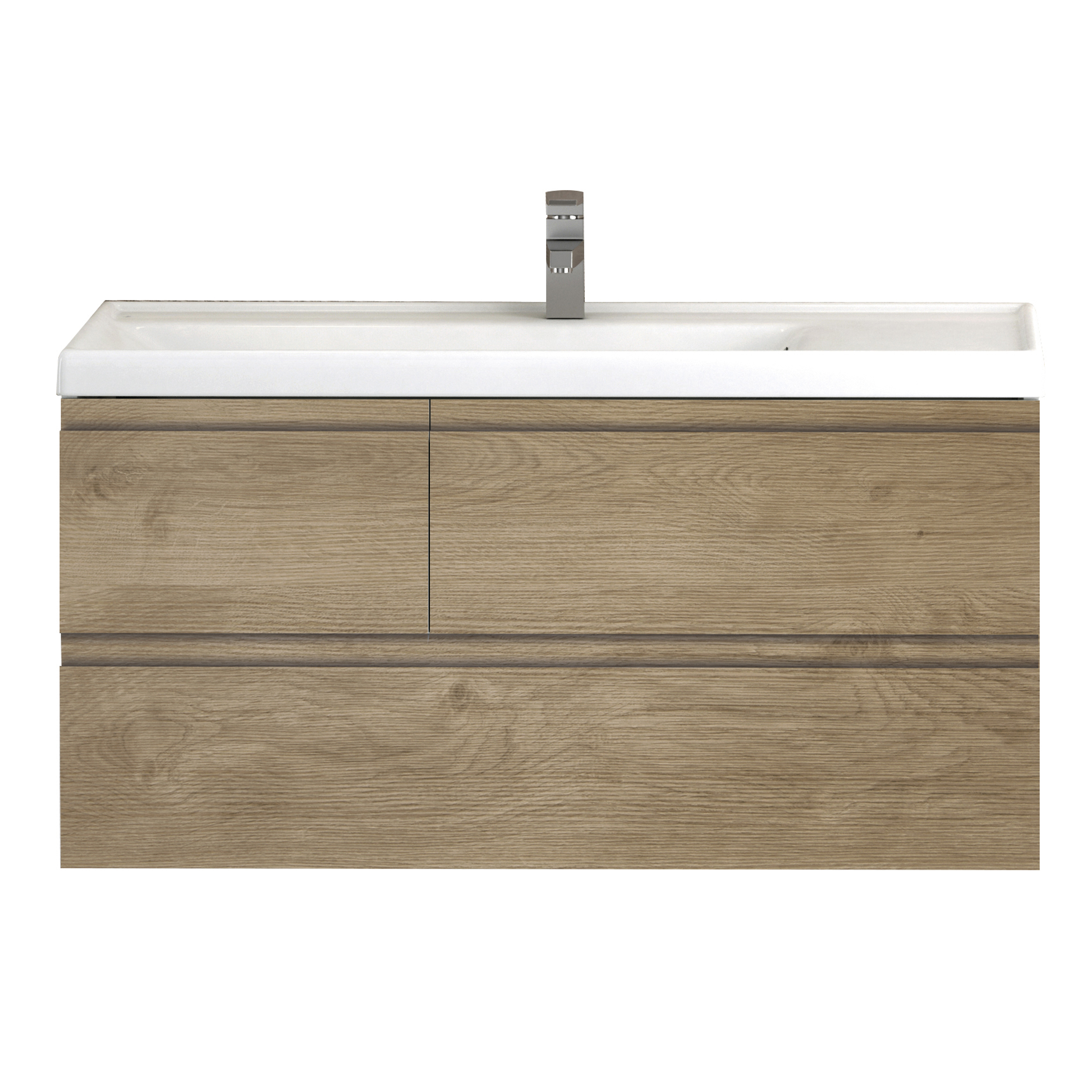 "EVVN542 32OAK A Main - Eviva Roxy 32"" Natural Oak Vanity with Porcelain sink"