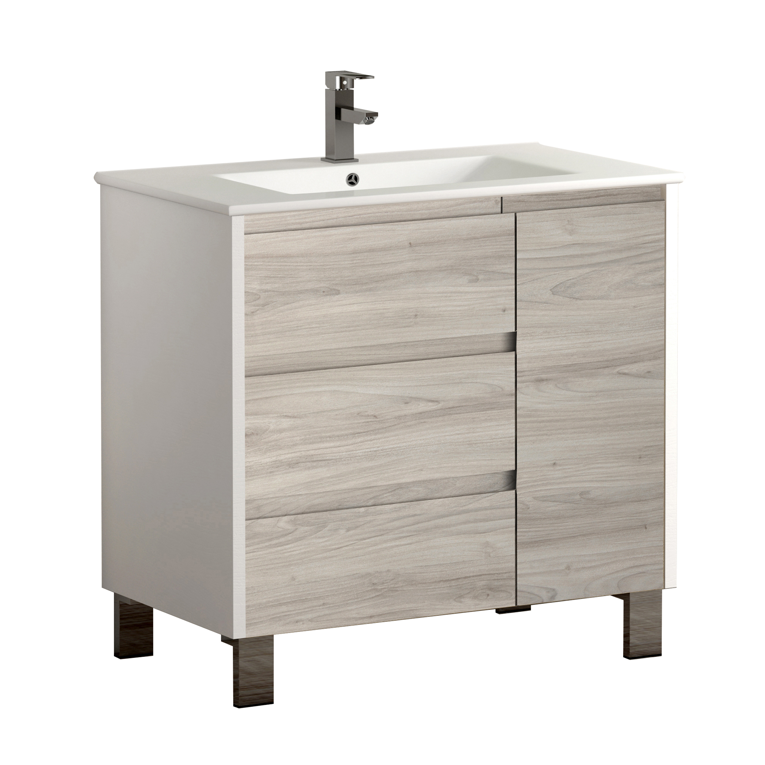 "EVVN543 32WHGRPN A Main - Eviva Bella 32"" White/Gray Pine Vanity with Porcelain sink"