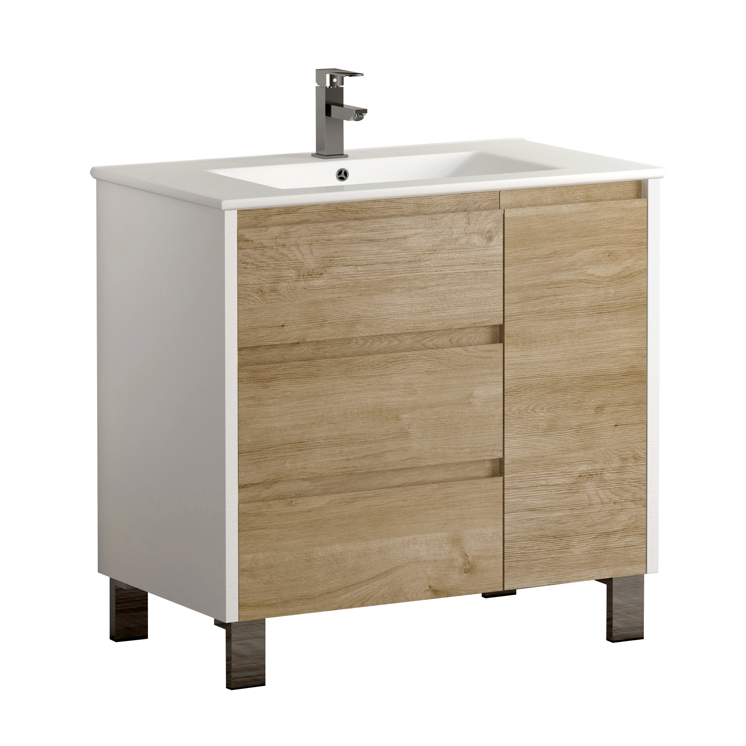 "EVVN543 32WHOAK A Main - Eviva Bella 32"" White/Oak Vanity with Porcelain sink"