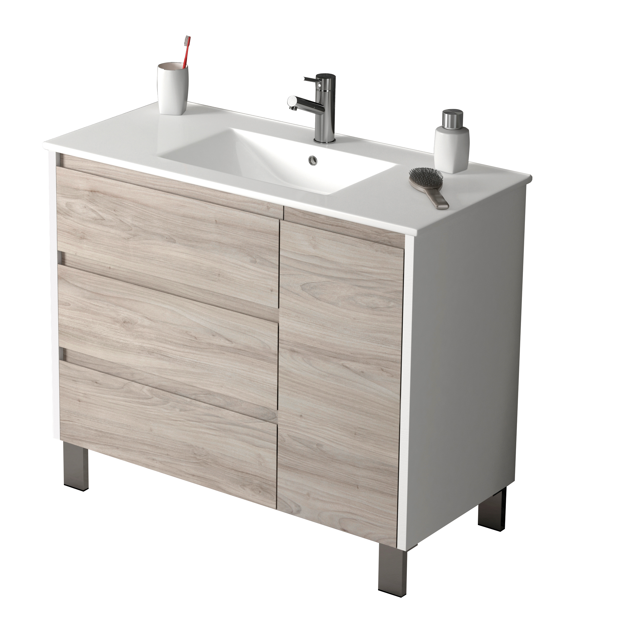 "EVVN543 39WHGRPN A Main - Eviva Bella 39"" White/Gray Pine Vanity with Porcelain sink"