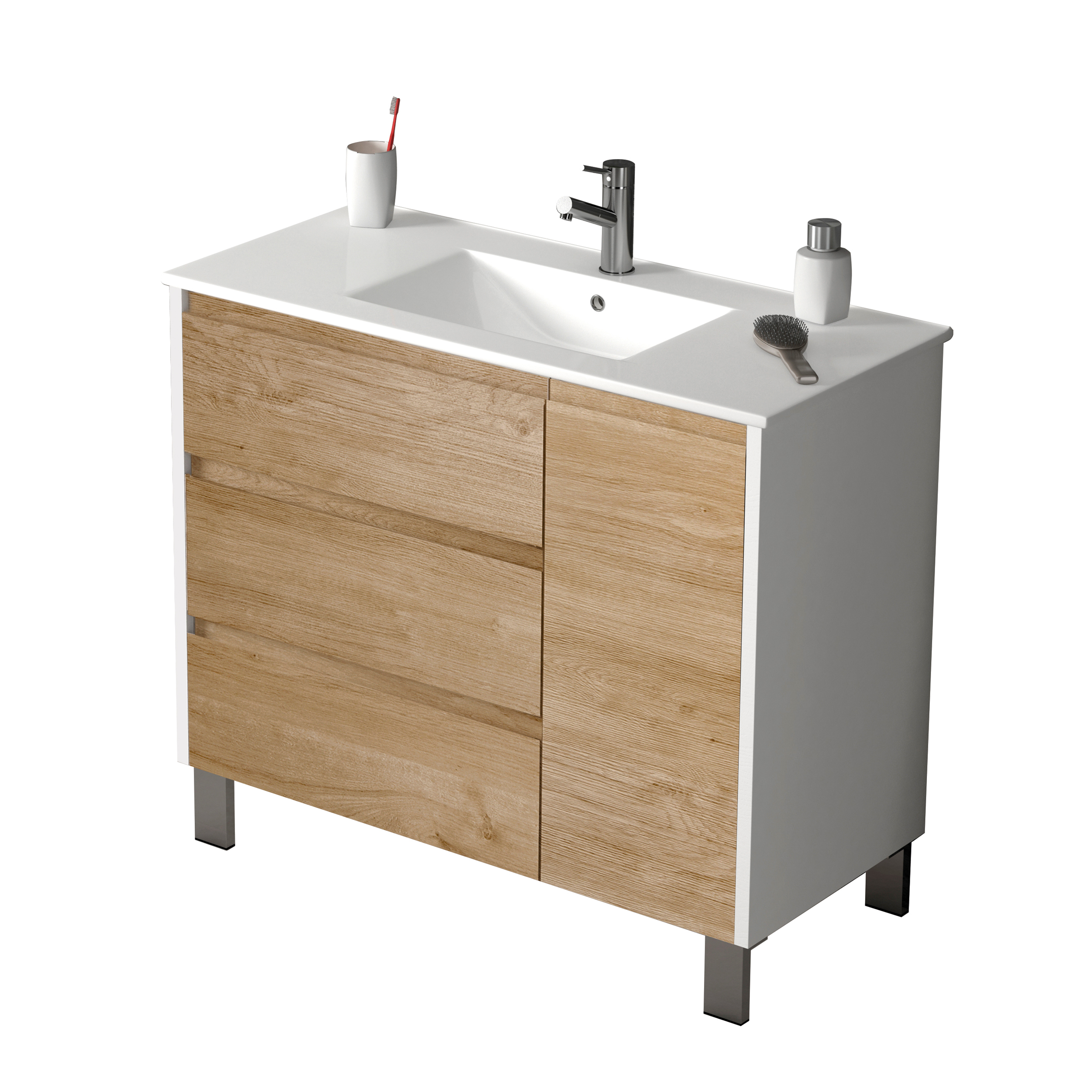 "EVVN543 39WHOAK A Main - Eviva Bella 39"" White/Oak Vanity with Porcelain sink"