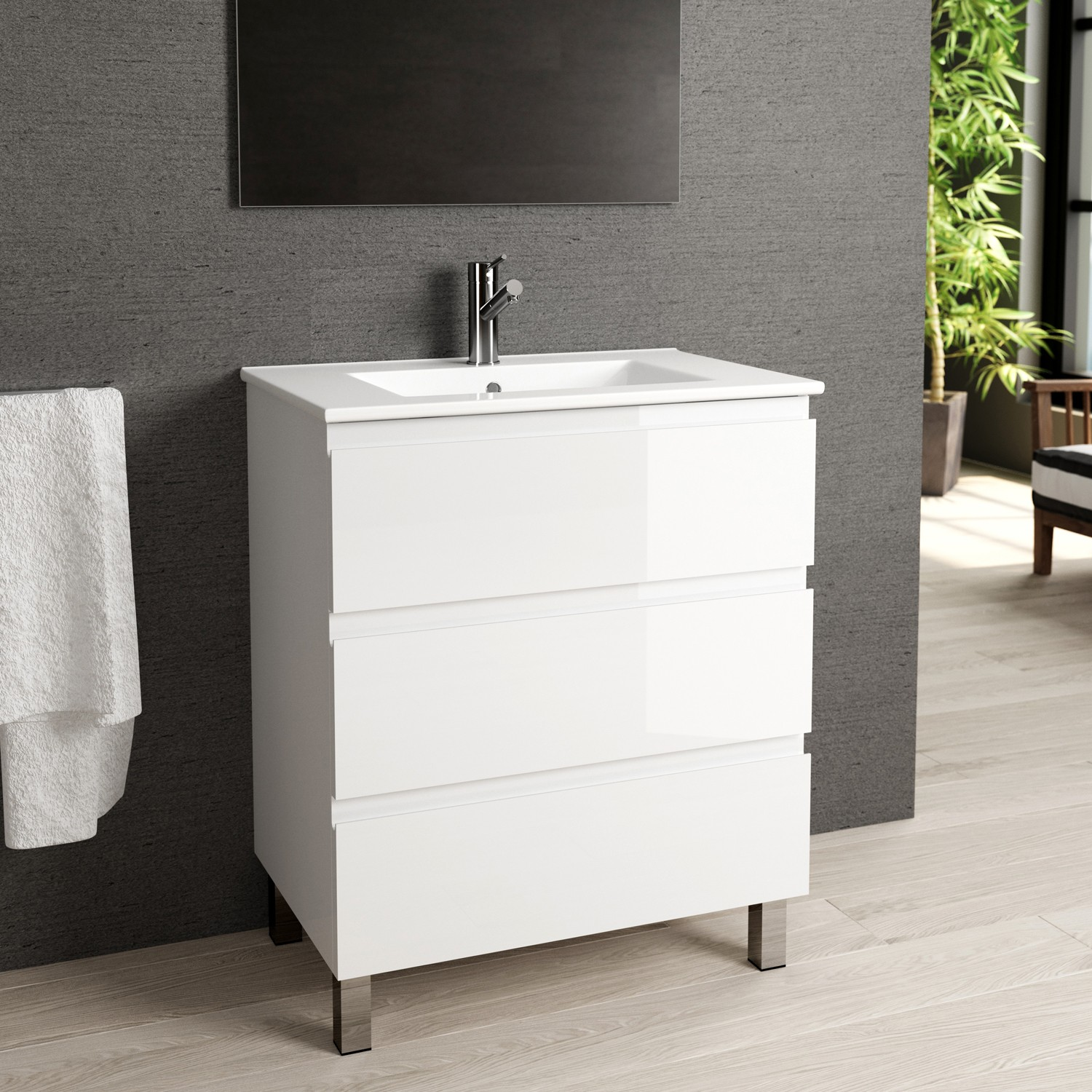 Eviva Vigo 28 White Bathroom Vanity With Integrated Porcelain Sink