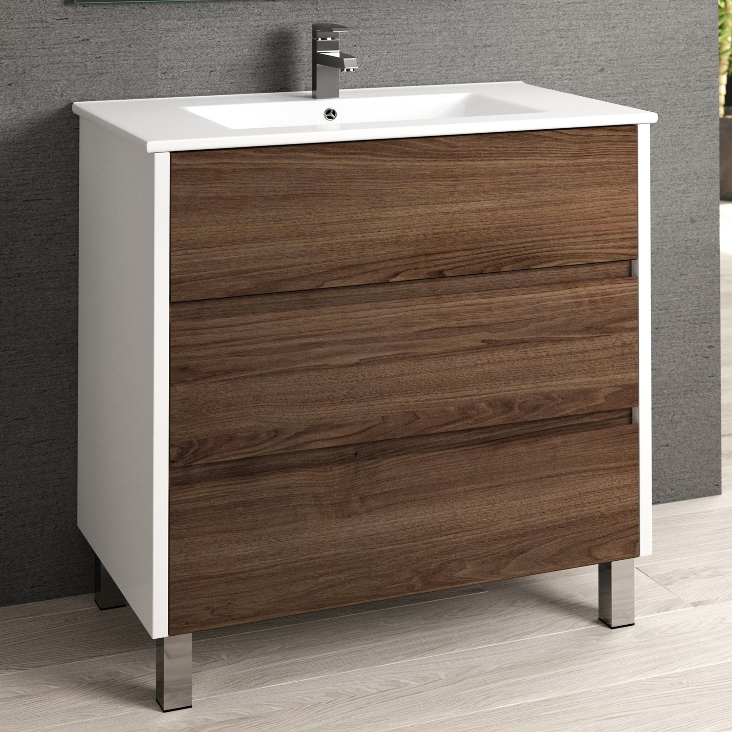 Eviva Majesty 32 Bathroom Vanity With White Integrated Sink In Dark Walnut Finish Decors Us