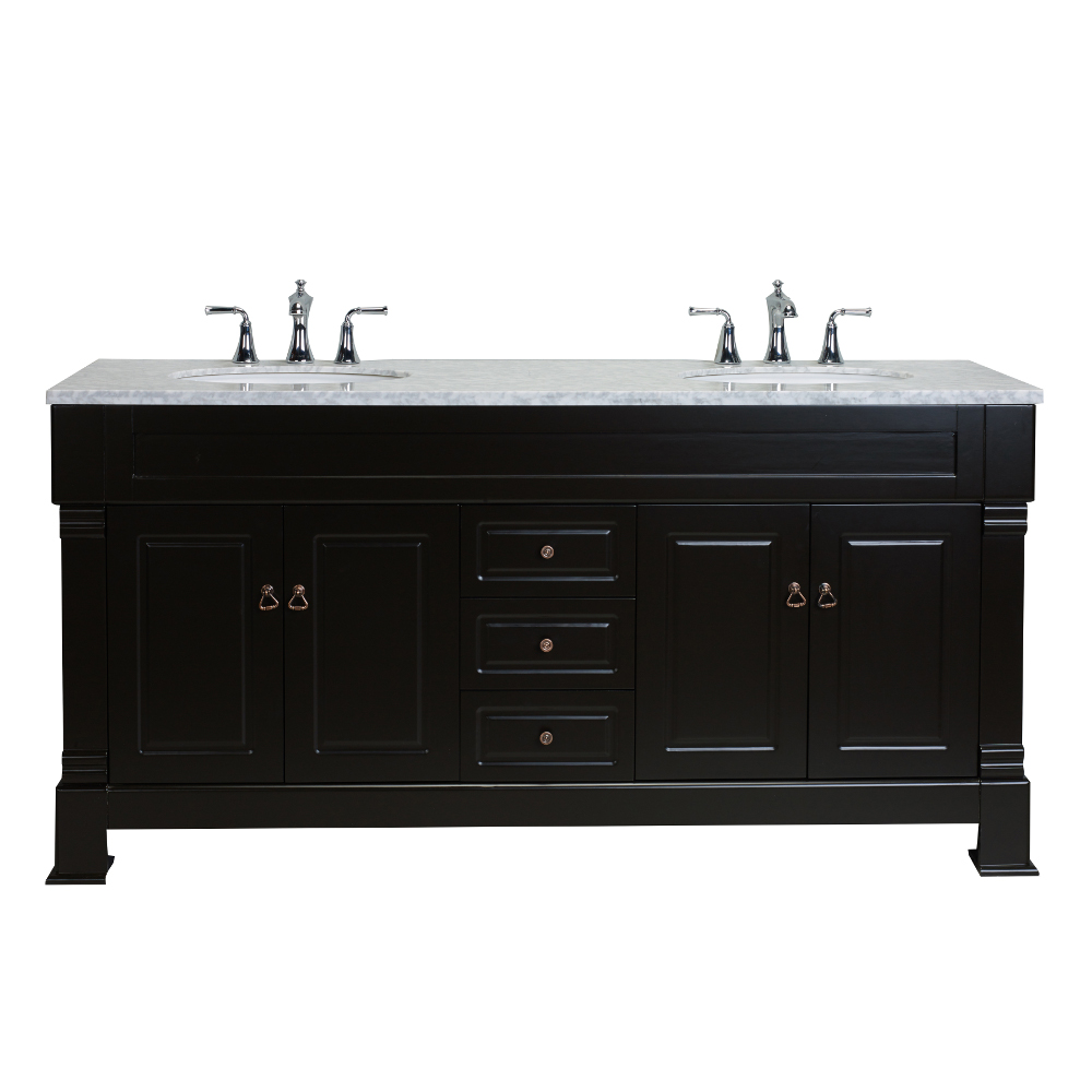 ... 72 Inch Traditional Bathroom Vanity With White Carrera Marble  Counter Top. EVVN55 72ES_A_Main