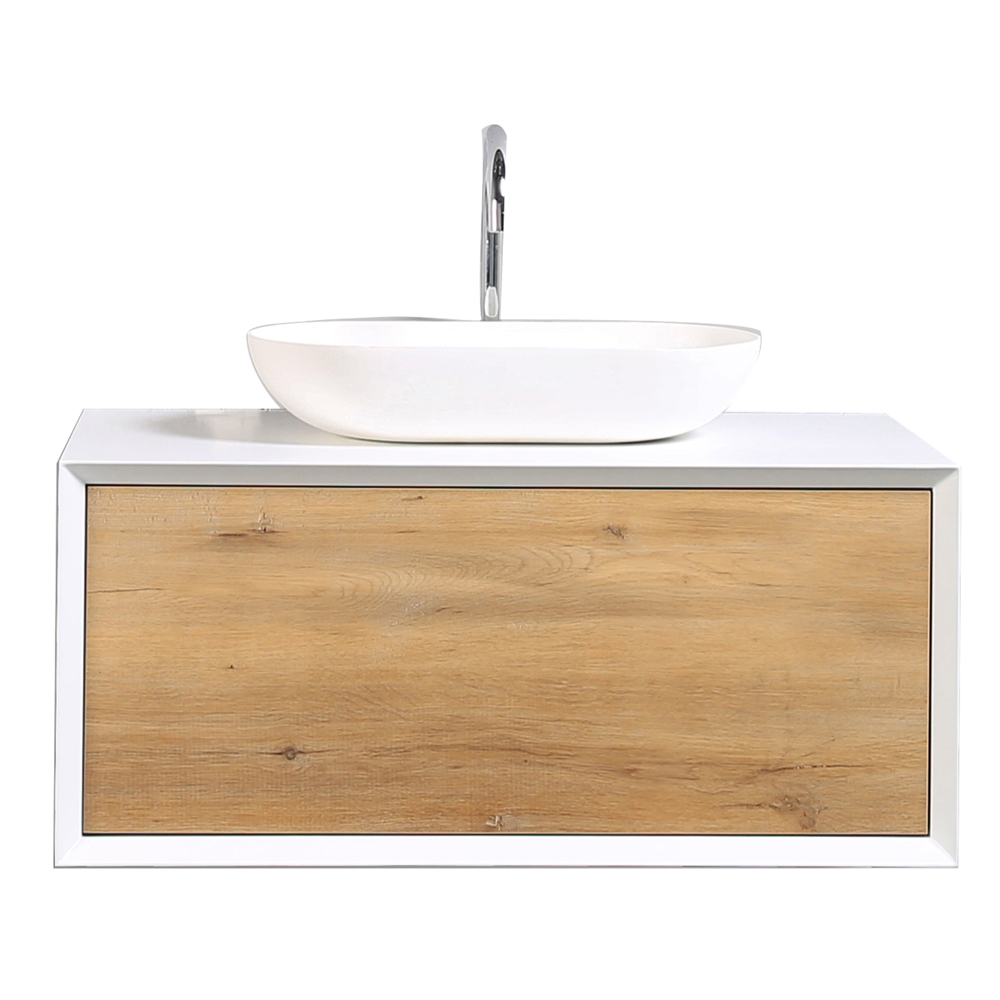 Eviva Santa Monica 36 In White Oak Wall Mount Bathroom Vanity With