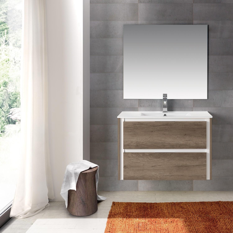Grey Oak Wallmount Bathroom Vanity