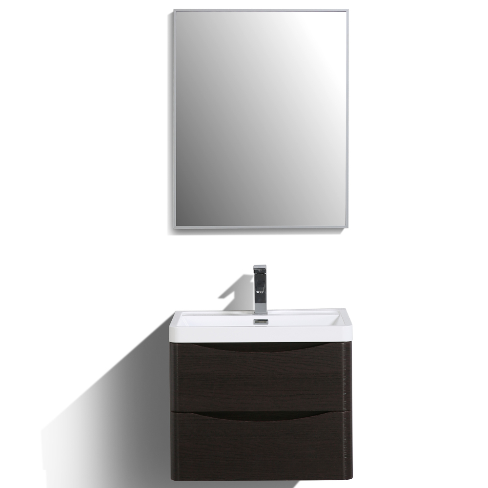 "EVVN600 24CHNT WM A Main - Eviva Smile 24"" Chest-nut Modern Bathroom Vanity Set with Integrated White Acrylic Sink"
