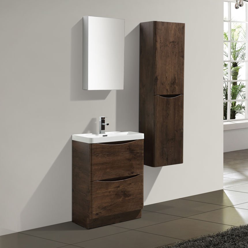 Eviva Smile Rosewood Modern Bathroom Vanity Set With Integrated - Modern free standing bathroom vanities