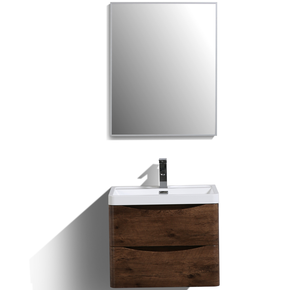 "EVVN600 24RSWD WM A Main - Eviva Smile 24"" Rosewood Modern Bathroom Vanity Set with Integrated White Acrylic Sink"