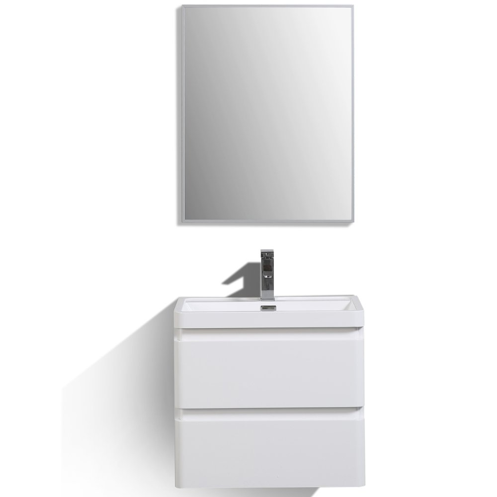 "EVVN600 24WH WM A Main - Eviva Glazzy 24"" Wall Mount Modern Bathroom Vanity (High Glossy White)"