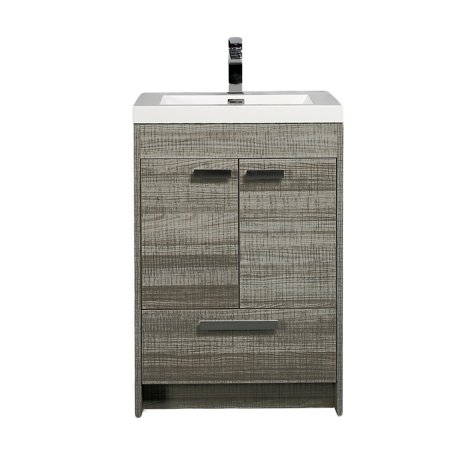 "EVVN600 8 24ASH A Main - Eviva Lugano 24"" Ash Modern Bathroom Vanity with White Integrated Acrylic Sink"