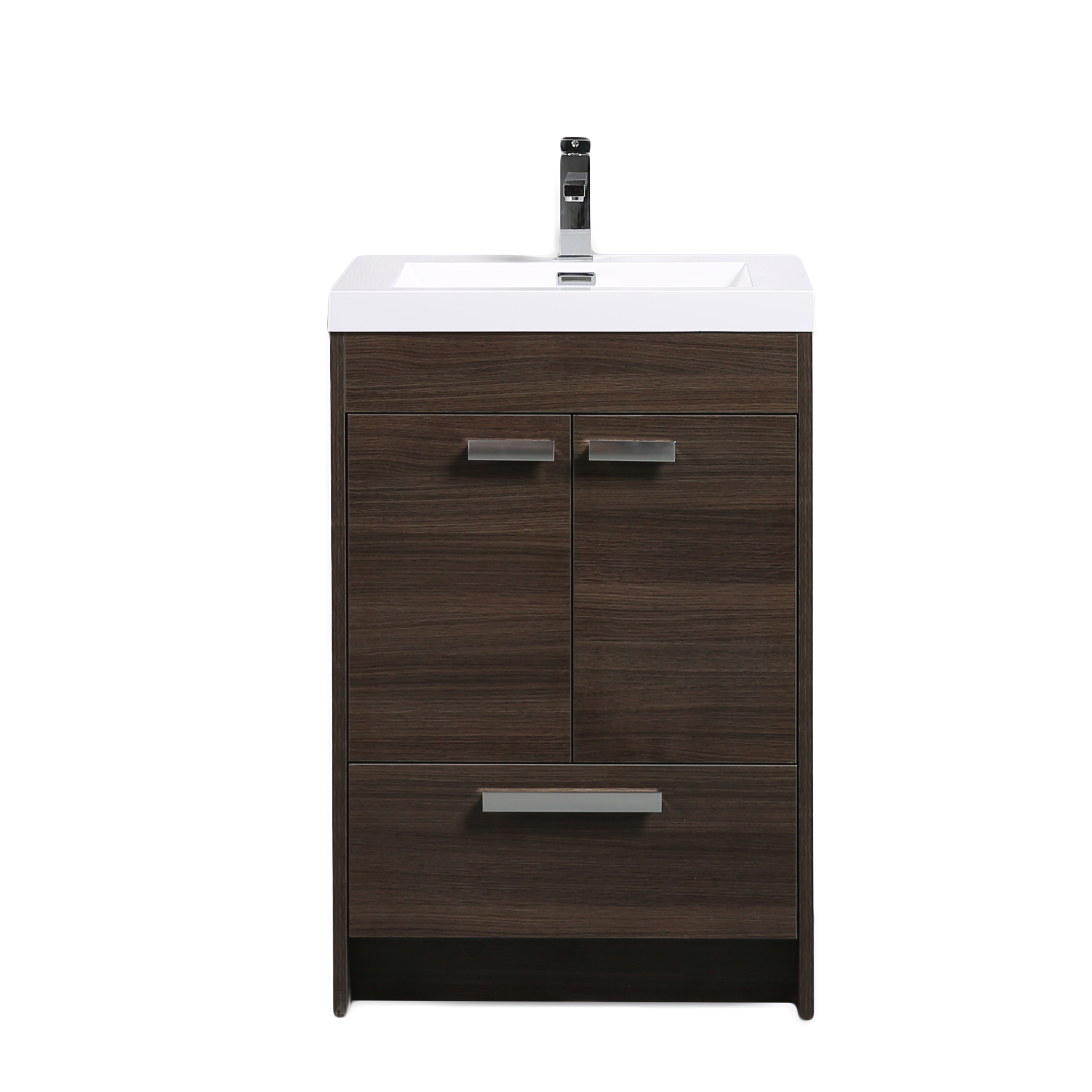 "EVVN600 8 24GOK A Main - Eviva Lugano 24"" Grey Oak Modern Bathroom Vanity with White Integrated Acrylic Sink"