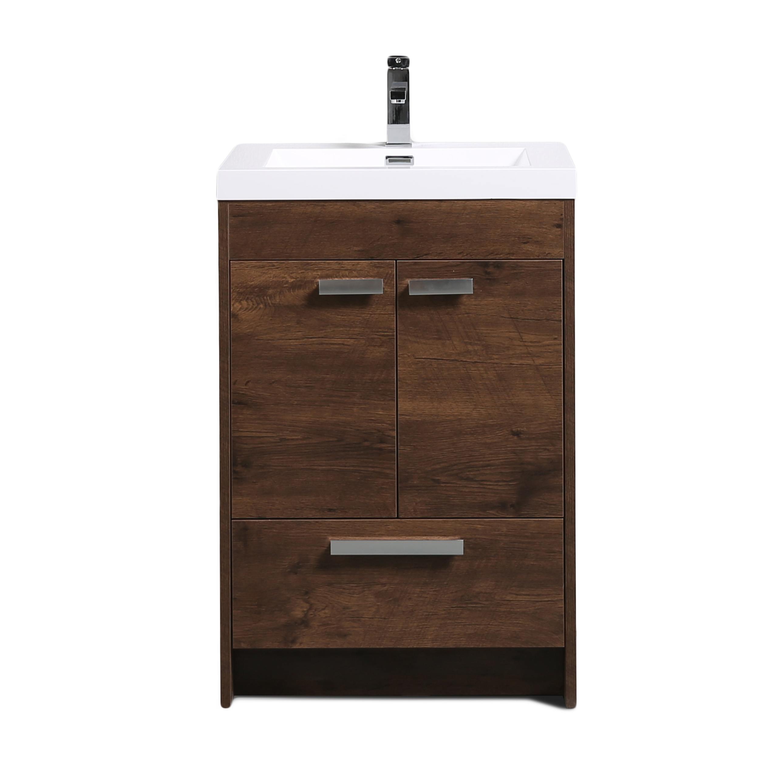 "EVVN600 8 24RSWD A Main - Eviva Lugano 24"" Rosewood Modern Bathroom Vanity with White Integrated Acrylic Sink"