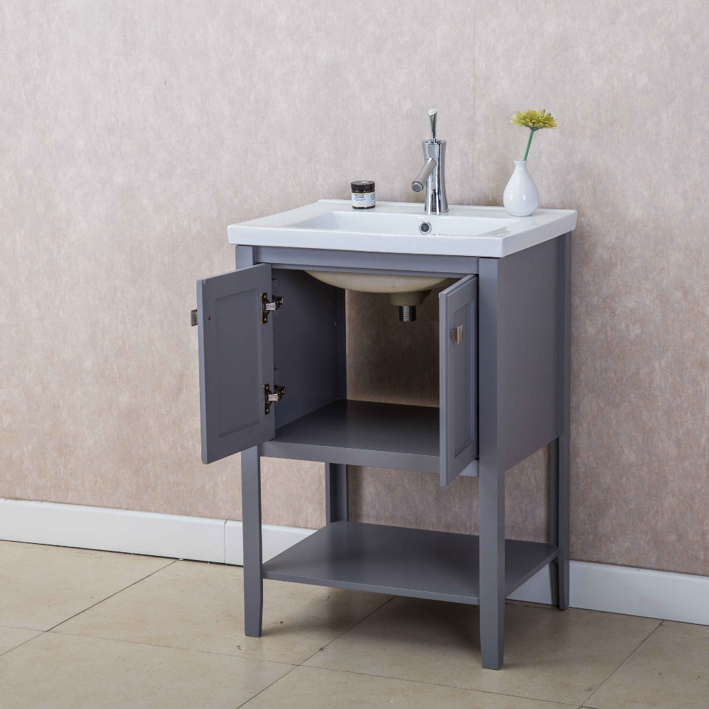Eviva Tiblisi 24 Grey Modern Transitional Bathroom Vanity With White Porcelain Sink