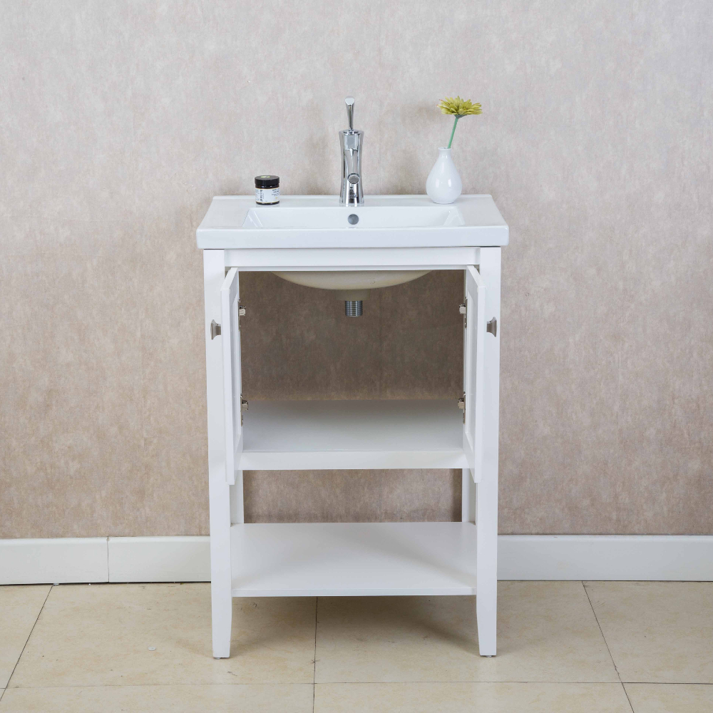 Eviva Tiblisi 24u2033 White Modern/Transitional Bathroom Vanity With White  Porcelain Sink