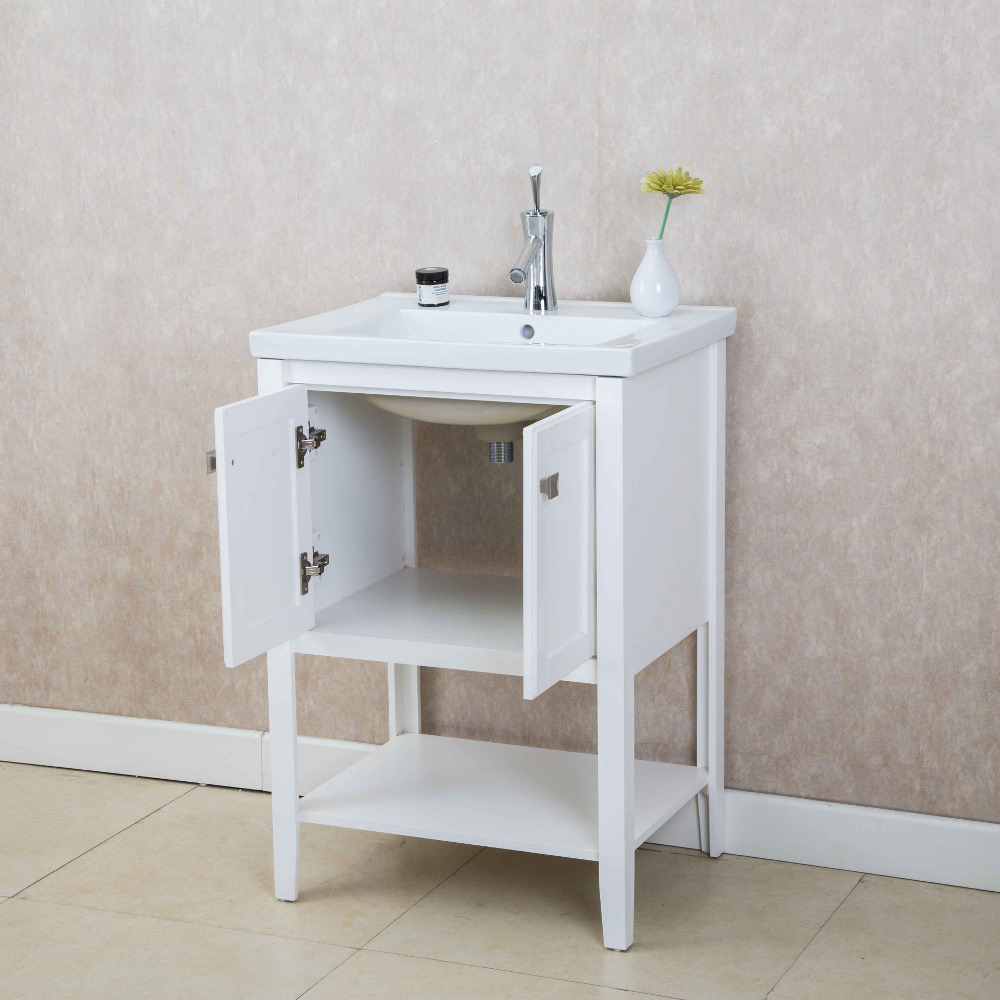Eviva tiblisi 24 white modern transitional bathroom vanity with white porcelain sink decors us Transitional bathroom vanities