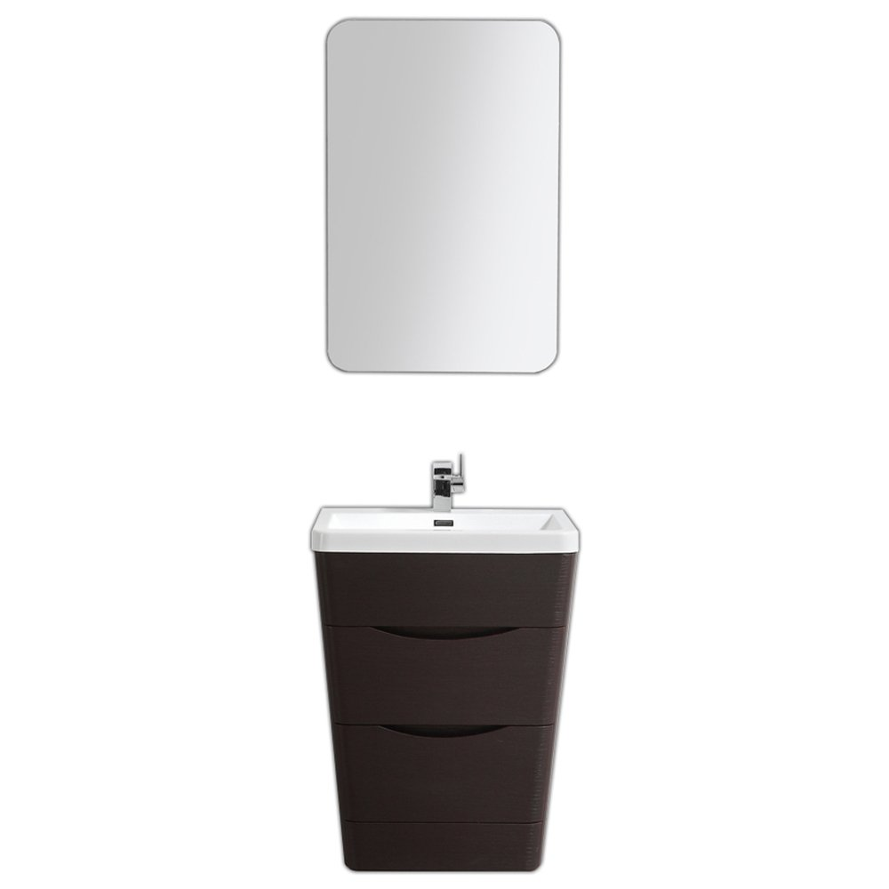 "EVVN650 25CHNT A Main - Eviva Victoria 25"" Chest Nut Modern Bathroom Vanity with White Integrated Acrylic Sink"