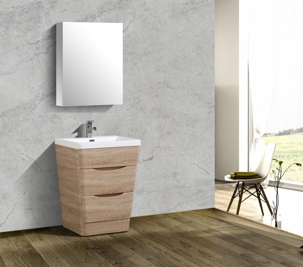 Eviva Victoria 25 inch White Oak Modern Bathroom Vanity with White