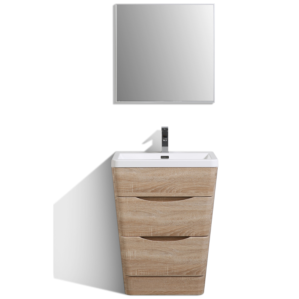 "EVVN650 25WHOK A Main - Eviva Victoria 25"" White Oak Modern Bathroom Vanity with White Integrated Acrylic Sink"