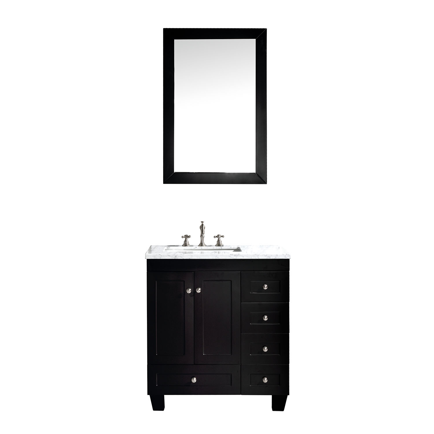 "EVVN69 30ES A Main - Eviva Acclaim C. 30"" Transitional Espresso Bathroom Vanity with white carrera marble counter-top"