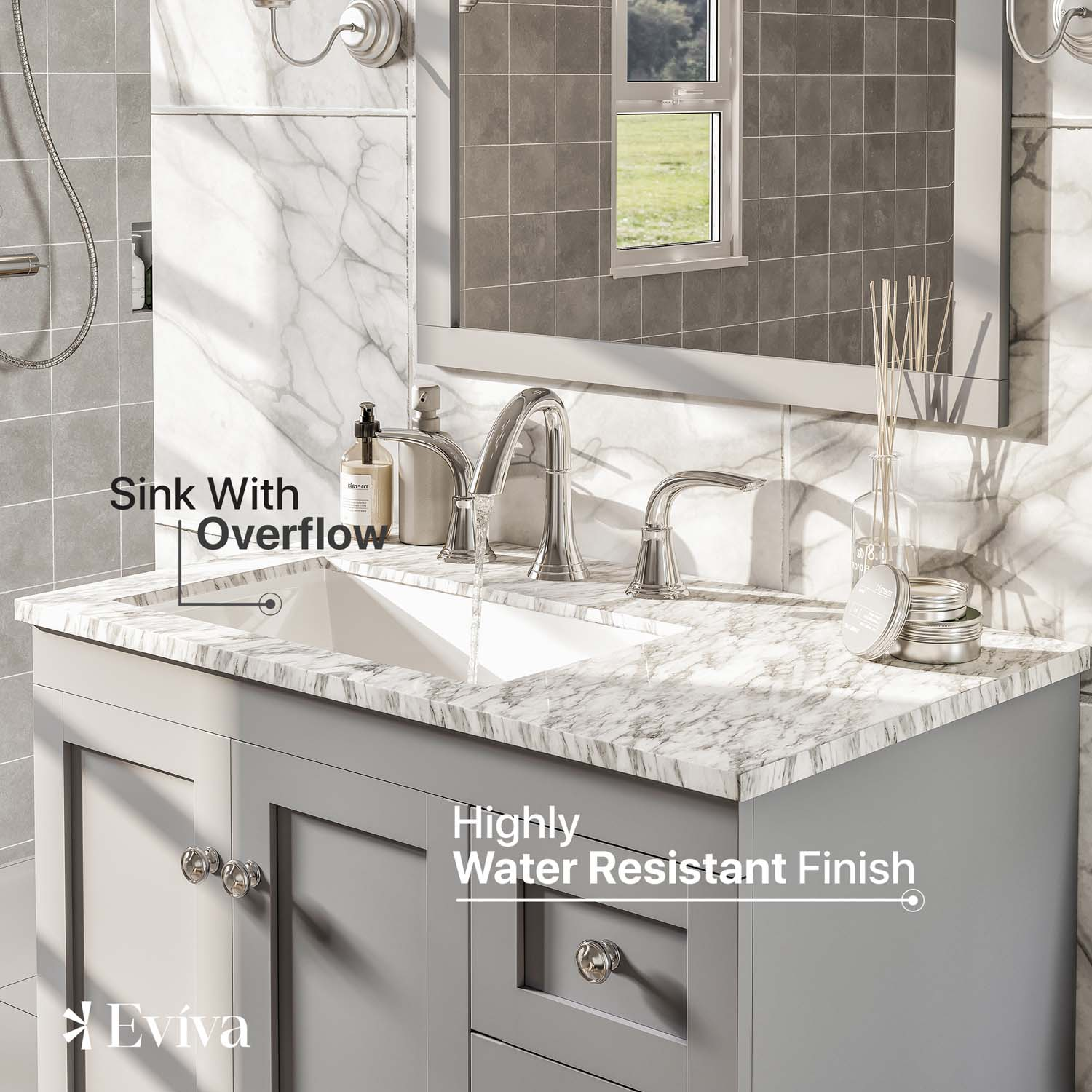 Eviva Acclaim C Inch Transitional Grey Bathroom Vanity With White - 30 inch grey bathroom vanity