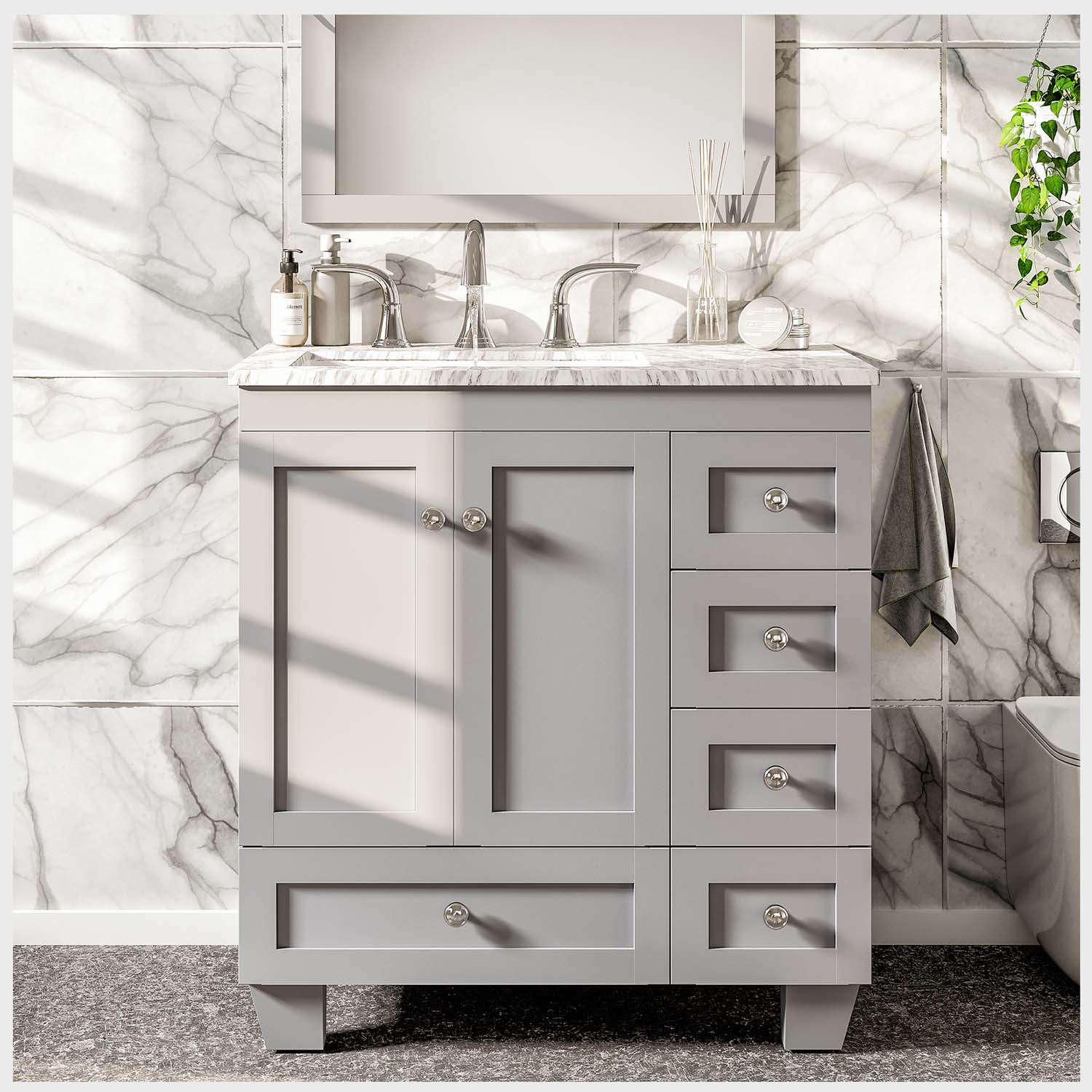 "EVVN69 30GR A Main - Eviva Acclaim C. 30"" Transitional Grey Bathroom Vanity with white carrera marble counter-top"