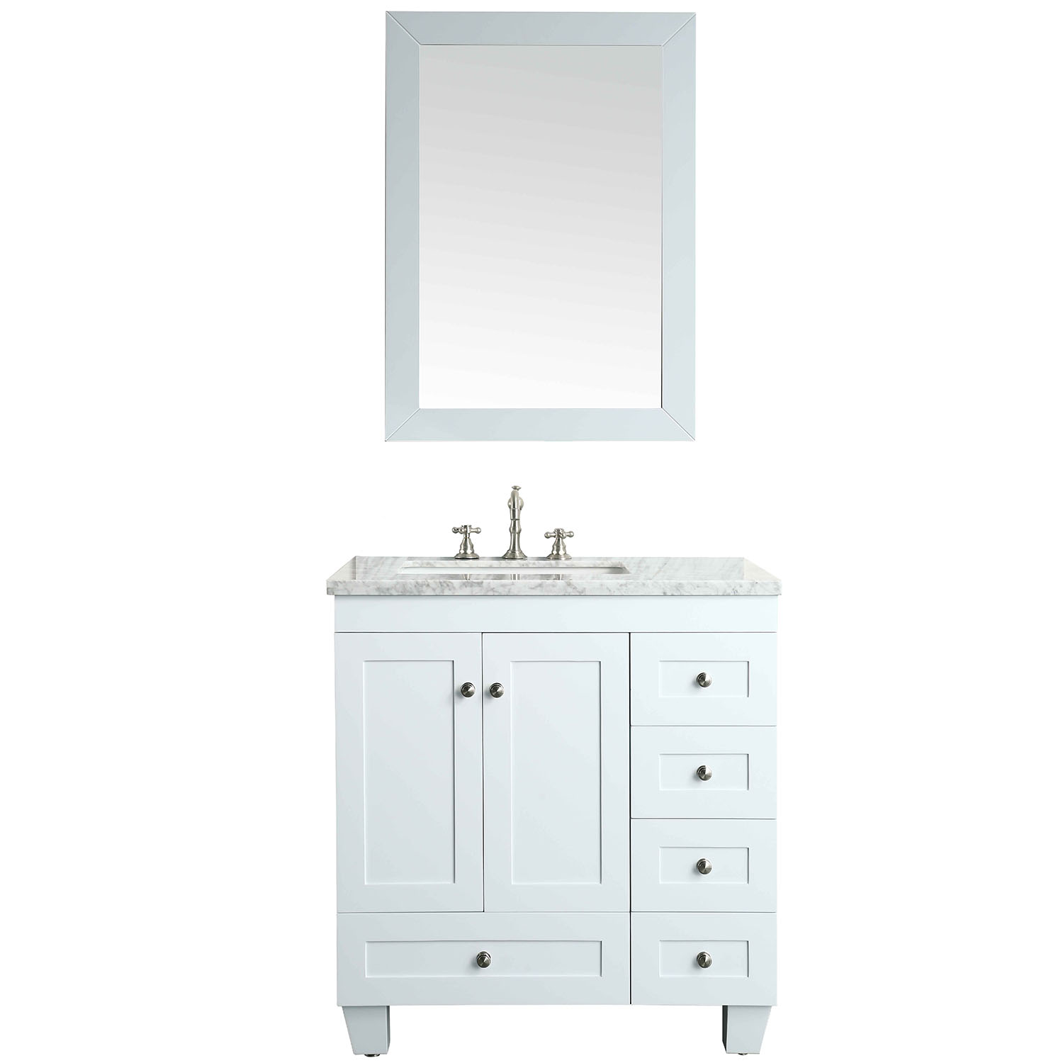 "EVVN69 30WH A Main - Eviva Acclaim C. 30"" Transitional White Bathroom Vanity with white carrera marble counter-top"