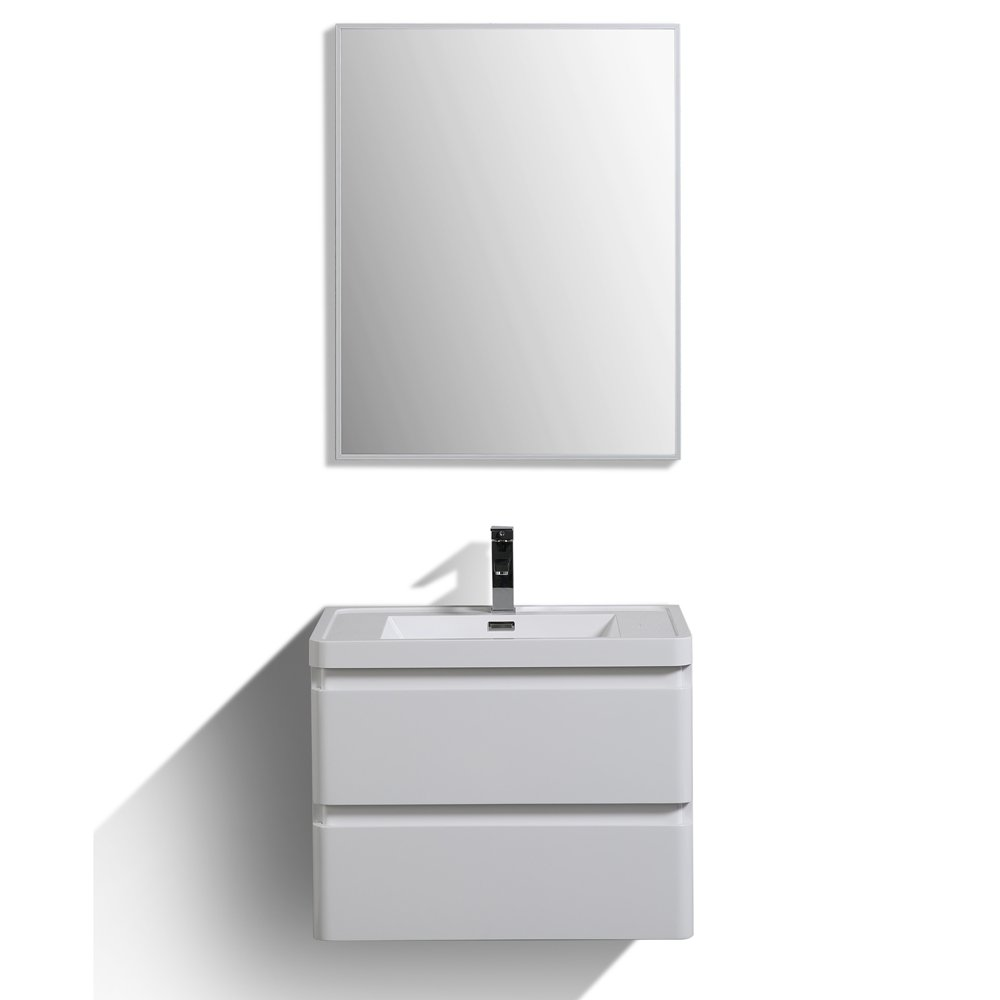 "EVVN700 28WH WM A Main - Eviva Glazzy 28"" Wall Mount Modern Bathroom Vanity Set with Integrated White Acrylic Sink (High Glossy White)"