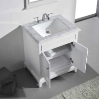 "EVVN707 30WH A Main 202x202 - Eviva Elite Princeton 30"" White Solid Wood Bathroom Vanity Set with Double OG White Carrera Marble Top"