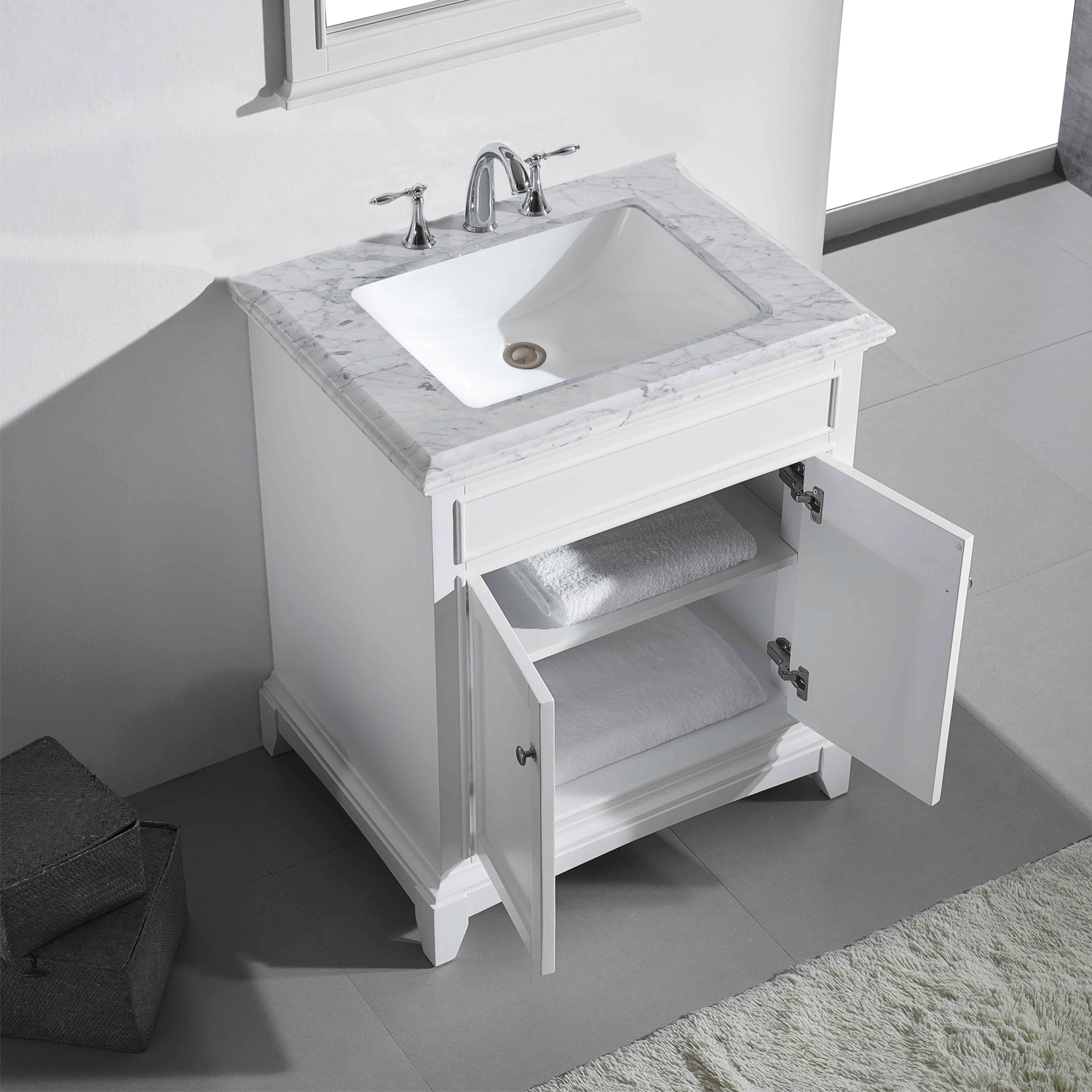 "EVVN707 30WH A Main - Eviva Elite Princeton 30"" White Solid Wood Bathroom Vanity Set with Double OG White Carrera Marble Top"