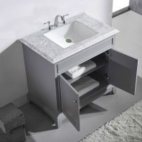 "EVVN707 36GR A Main 202x202 - Eviva Elite Princeton 36"" Grey Solid Wood Bathroom Vanity Set with Double OG White Carrera Marble Top"