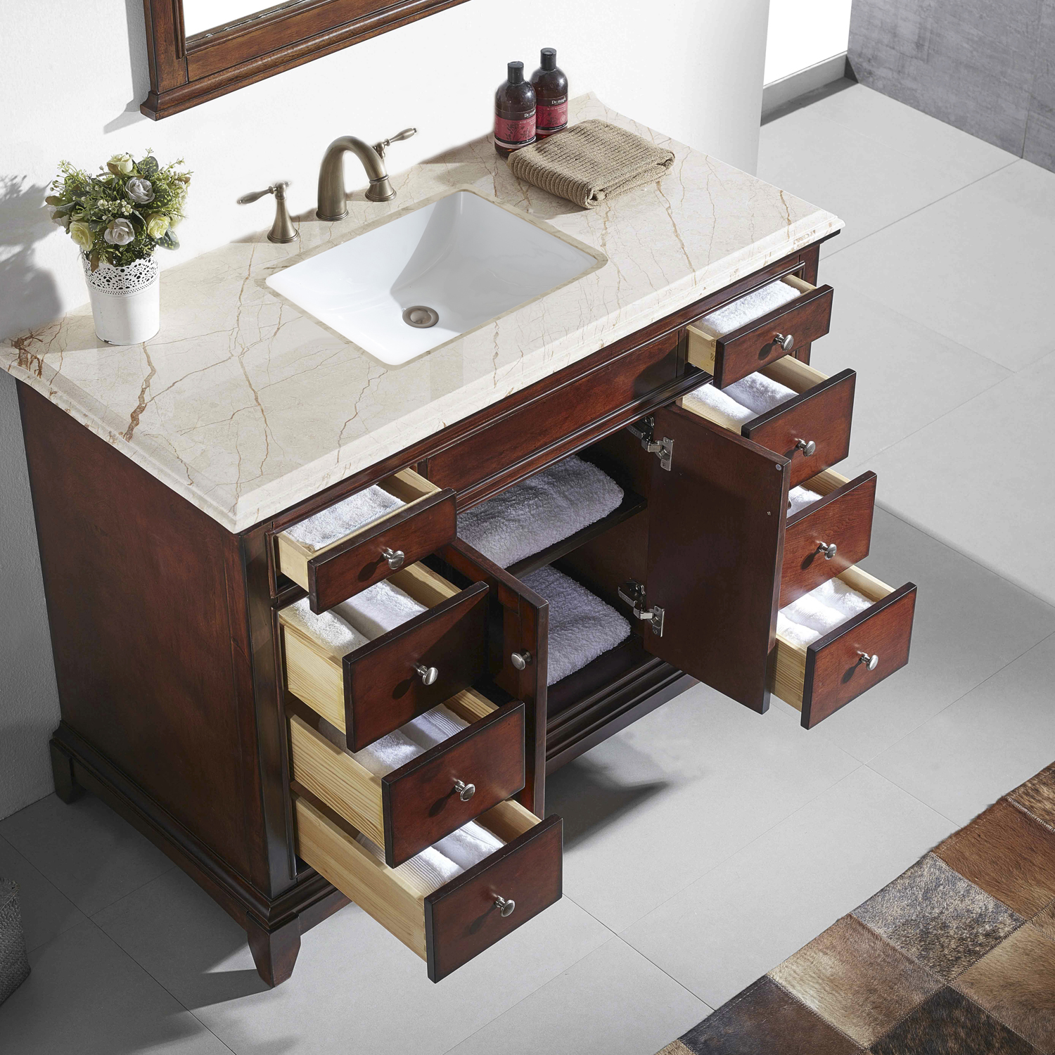 Teak Solid Wood Bathroom Vanity Set