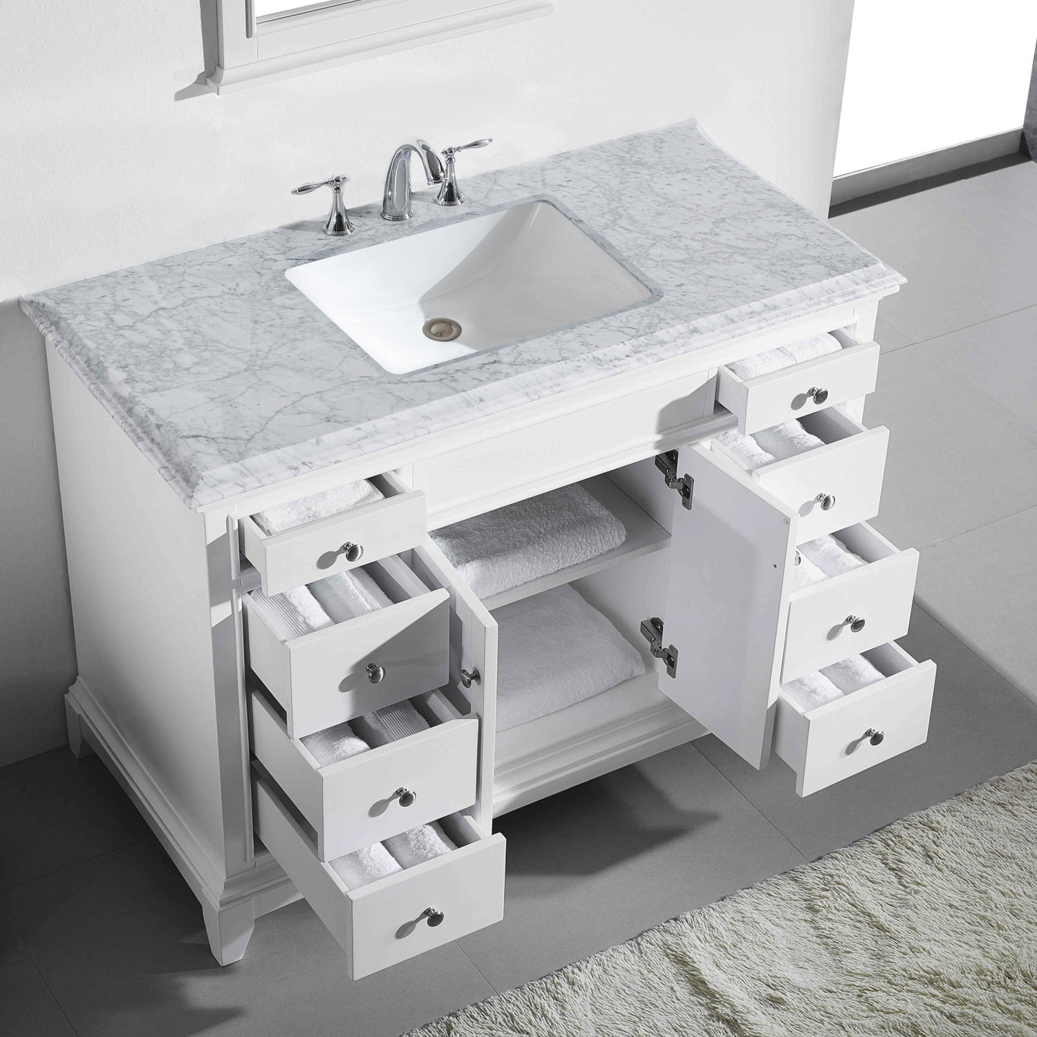 Picture of: Eviva Elite Princeton 48 White Solid Wood Bathroom Vanity Set With Double Og White Carrera Marble Top Decors Us