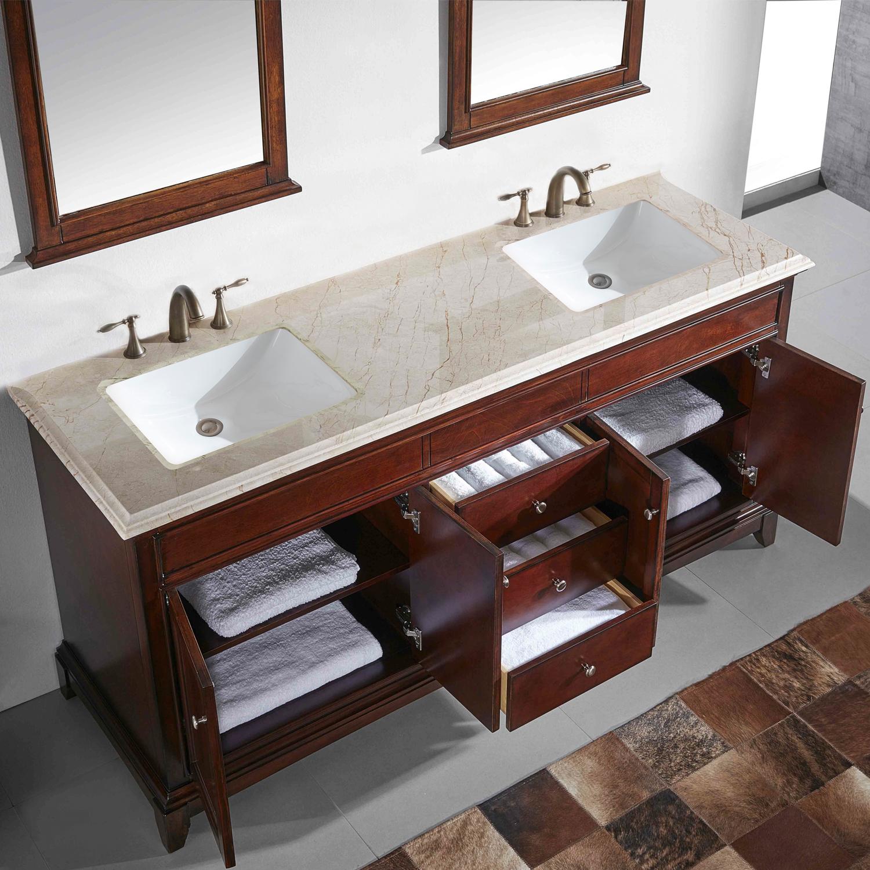 Eviva Elite Princeton 72 Teak Solid Wood Bathroom Vanity Set With Double Og Crema Marfil Marble Top Decors Us