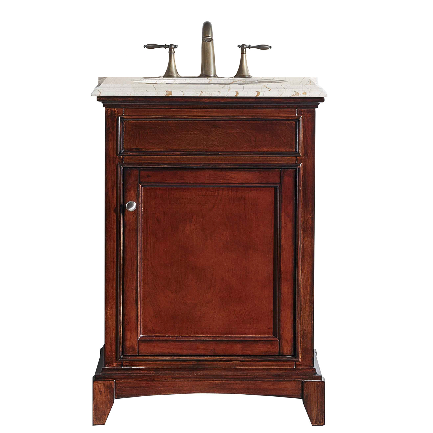 Eviva Elite Stamford 24 Brown Solid Wood Bathroom Vanity Set With Double Og Crema Marfil Marble Top White Undermount Porcelain Sink Decors Us