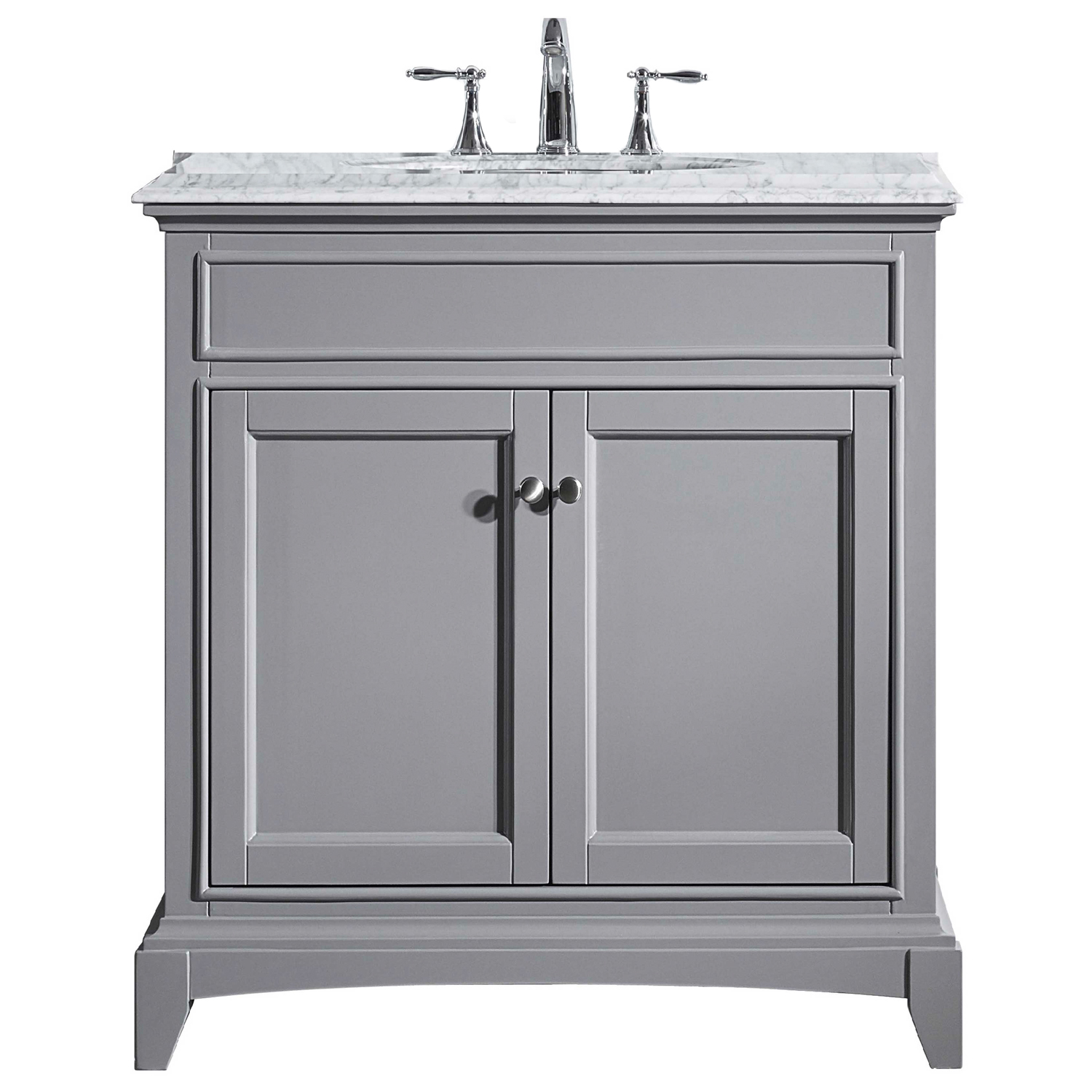 Eviva Elite Stamford 30″ Gray Solid Wood Bathroom Vanity Set with Double OG White Carrera Marble Top & White Undermount Porcelain Sink