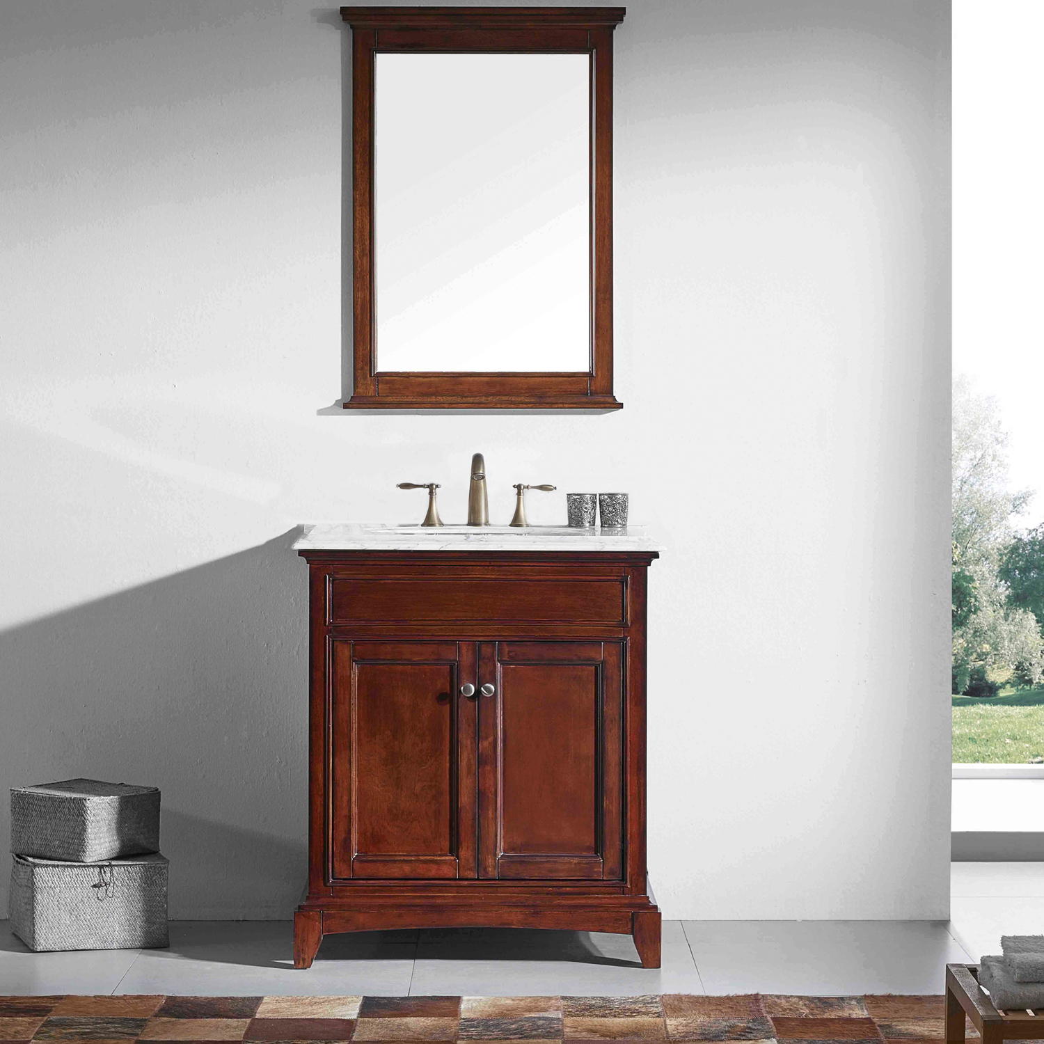 "EVVN709 30TK A 01 - Eviva Elite Princeton 30"" Teak Solid Wood Bathroom Vanity Set with Double OG Crema Marfil Marble Top"