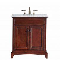 "EVVN709 30TK A Main 202x202 - Eviva Elite Stamford 30"" Brown Solid Wood Bathroom Vanity Set with Double OG Crema Marfil Marble Top & White Undermount Porcelain Sink"