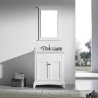 """EVVN709 30WH A 01 202x202 - Eviva Elite Stamford 30"""" White Solid Wood Bathroom Vanity Set with Double OG White Carrera Marble Top & White Undermount Porcelain Sink"""