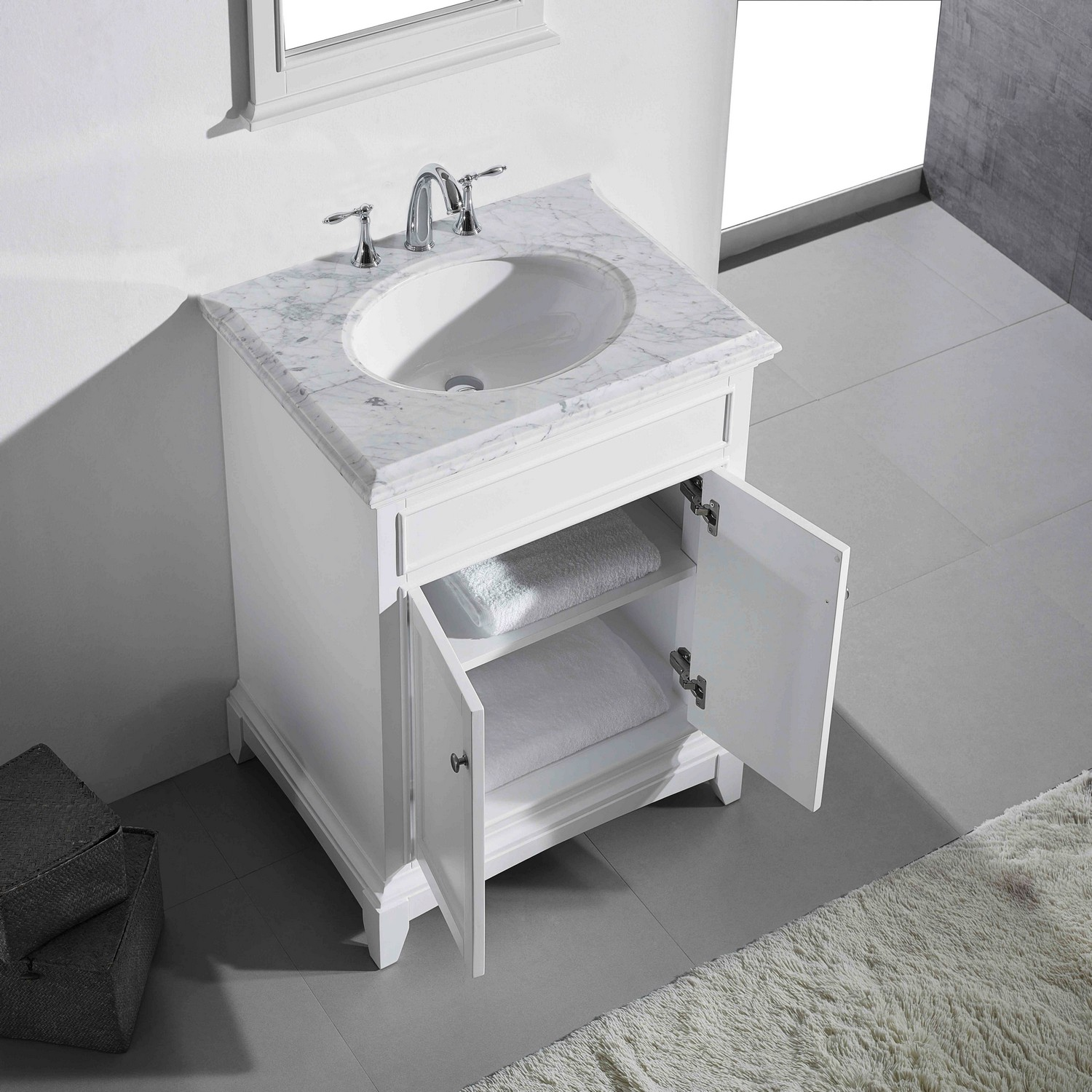 """EVVN709 30WH A Main - Eviva Elite Stamford 30"""" White Solid Wood Bathroom Vanity Set with Double OG White Carrera Marble Top & White Undermount Porcelain Sink"""