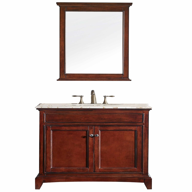 "EVVN709 36TK A Main - Eviva Elite Stamford 36"" Brown Solid Wood Bathroom Vanity Set with Double OG Crema Marfil Marble Top & White Undermount Porcelain Sink"