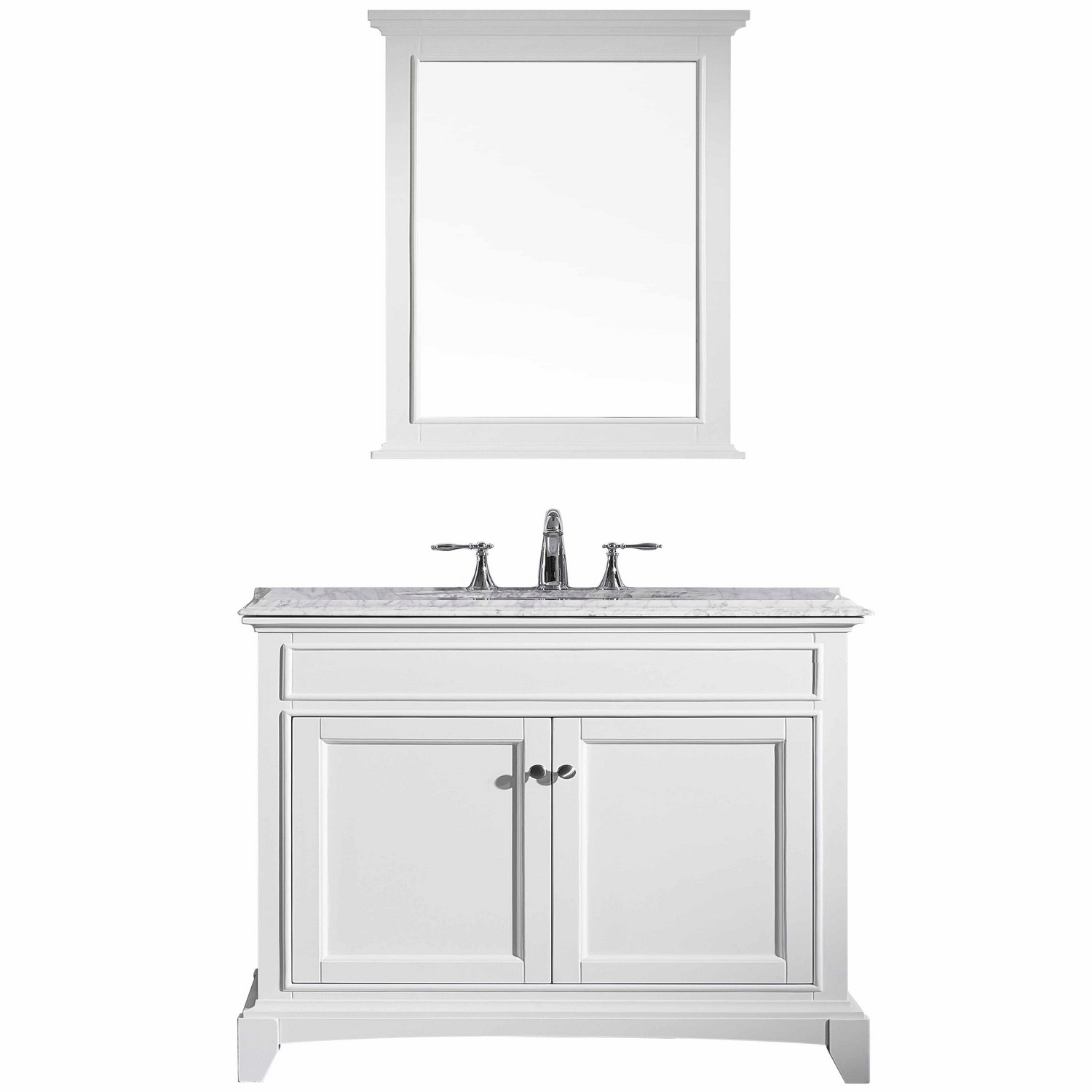 Eviva Elite Stamford 36″ White Solid Wood Bathroom Vanity Set with Double OG White Carrera Marble Top & White Undermount Porcelain Sink