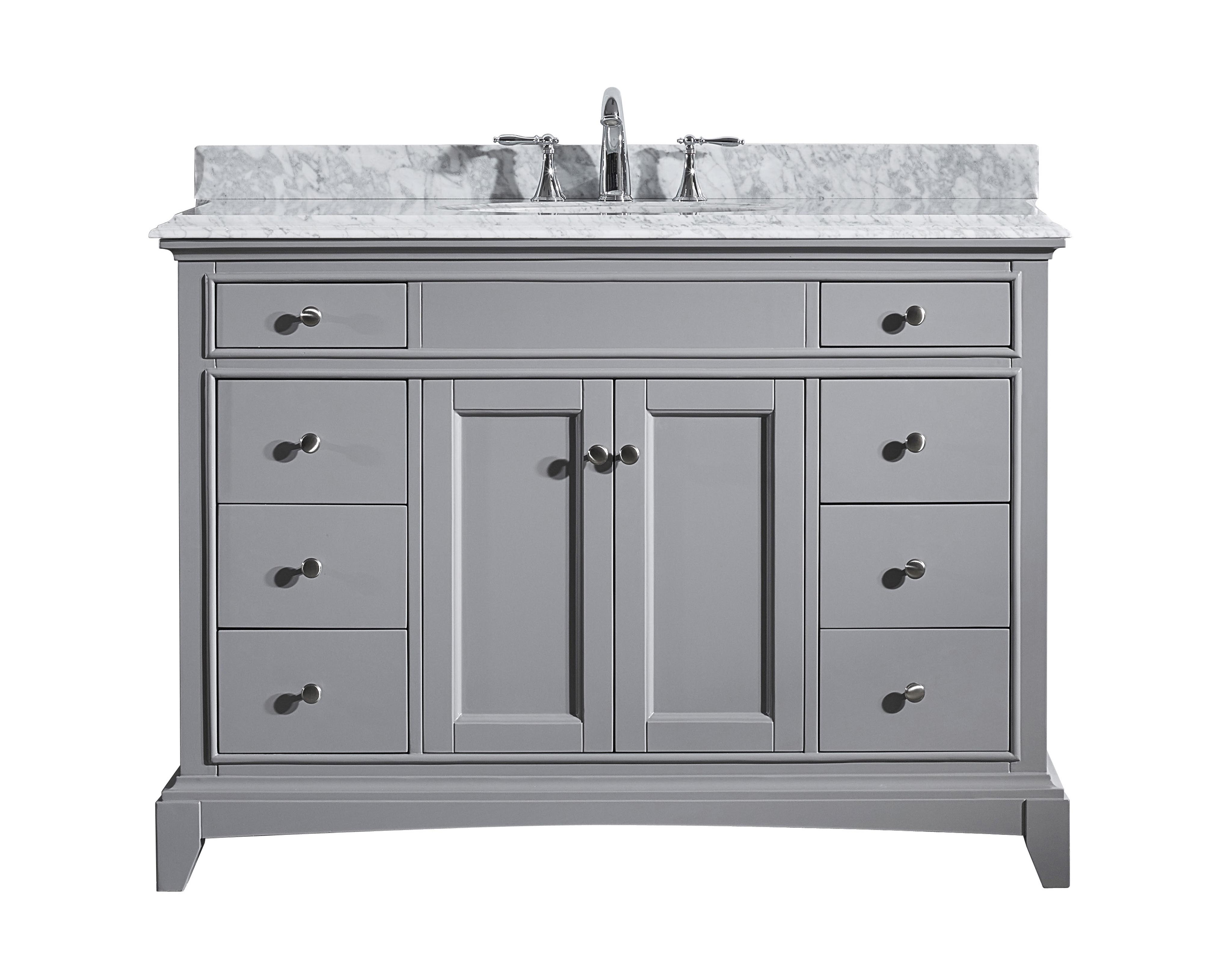 Eviva Elite Stamford 48 Grey Solid Wood Bathroom Cabinet Only Without Top