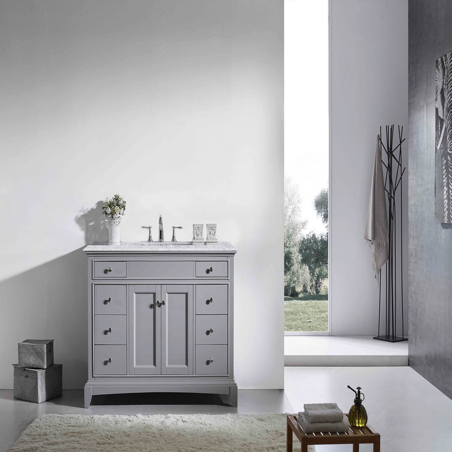 Eviva Elite Stamford 48 Quot Gray Solid Wood Bathroom Vanity Set