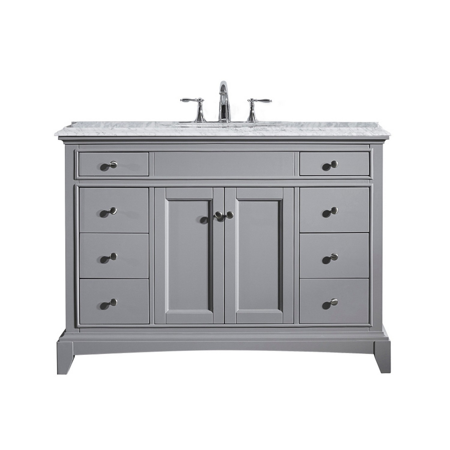 Eviva elite stamford 48 gray solid wood bathroom vanity set for Solid wood double sink bathroom vanity
