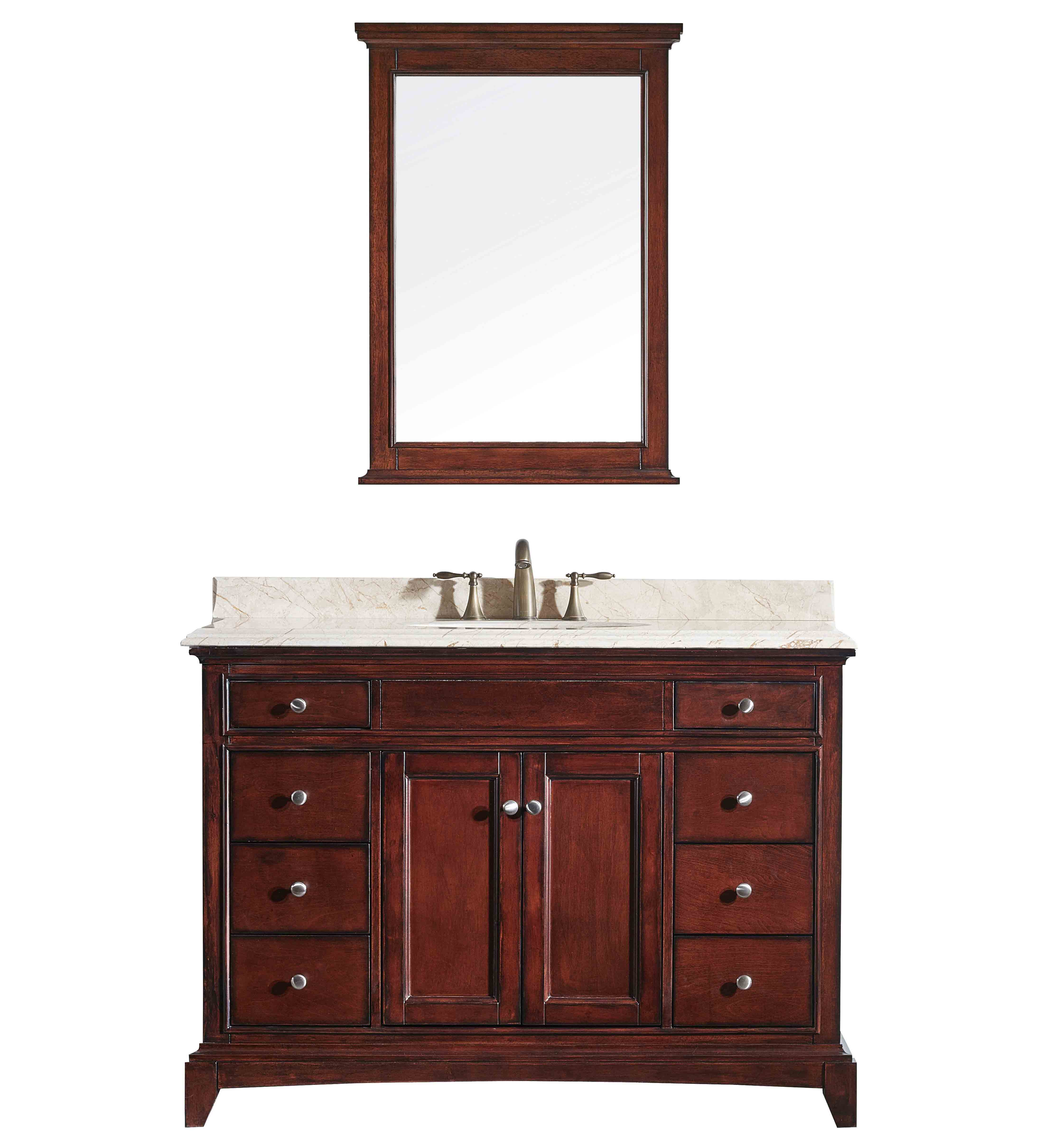 """EVVN709 48TK CABINETONLY NOTOP A Main - Eviva Elite Stamford 48"""" Brown Solid Wood Bathroom Cabinet Only Without Top"""