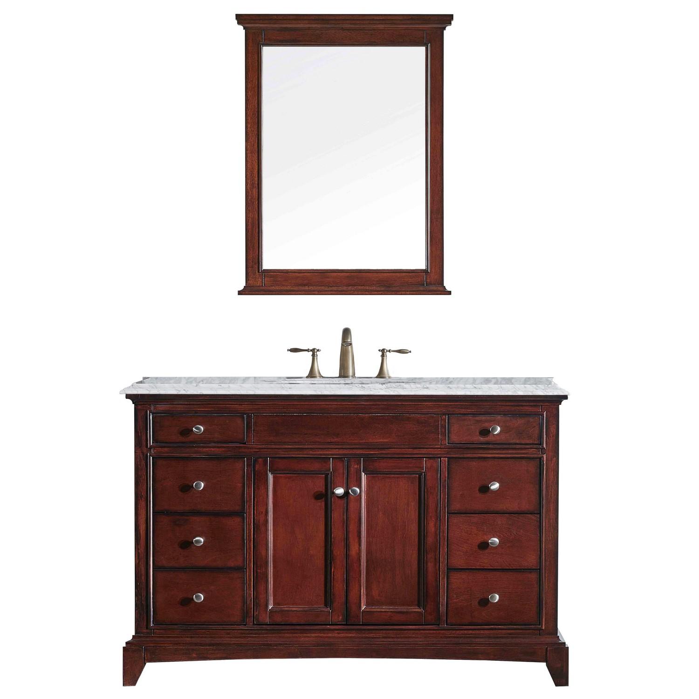 "EVVN709 48TK A Main - Eviva Elite Stamford 48"" Brown Solid Wood Bathroom Vanity Set with Double OG Crema Marfil Marble Top & White Undermount Porcelain Sink"