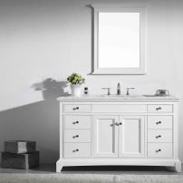 "EVVN709 48WH A 01 202x202 - Eviva Elite Stamford 48"" White Solid Wood Bathroom Vanity Set with Double OG White Carrera Marble Top & White Undermount Porcelain Sink"
