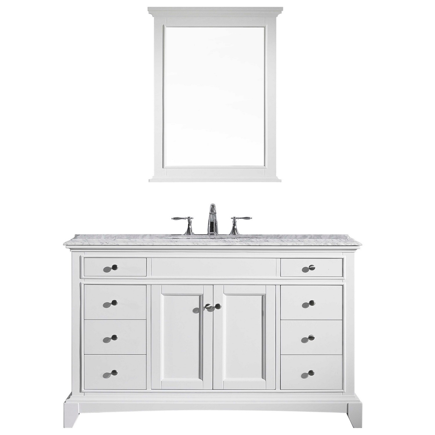 "EVVN709 48WH A Main - Eviva Elite Stamford 48"" White Solid Wood Bathroom Vanity Set with Double OG White Carrera Marble Top & White Undermount Porcelain Sink"