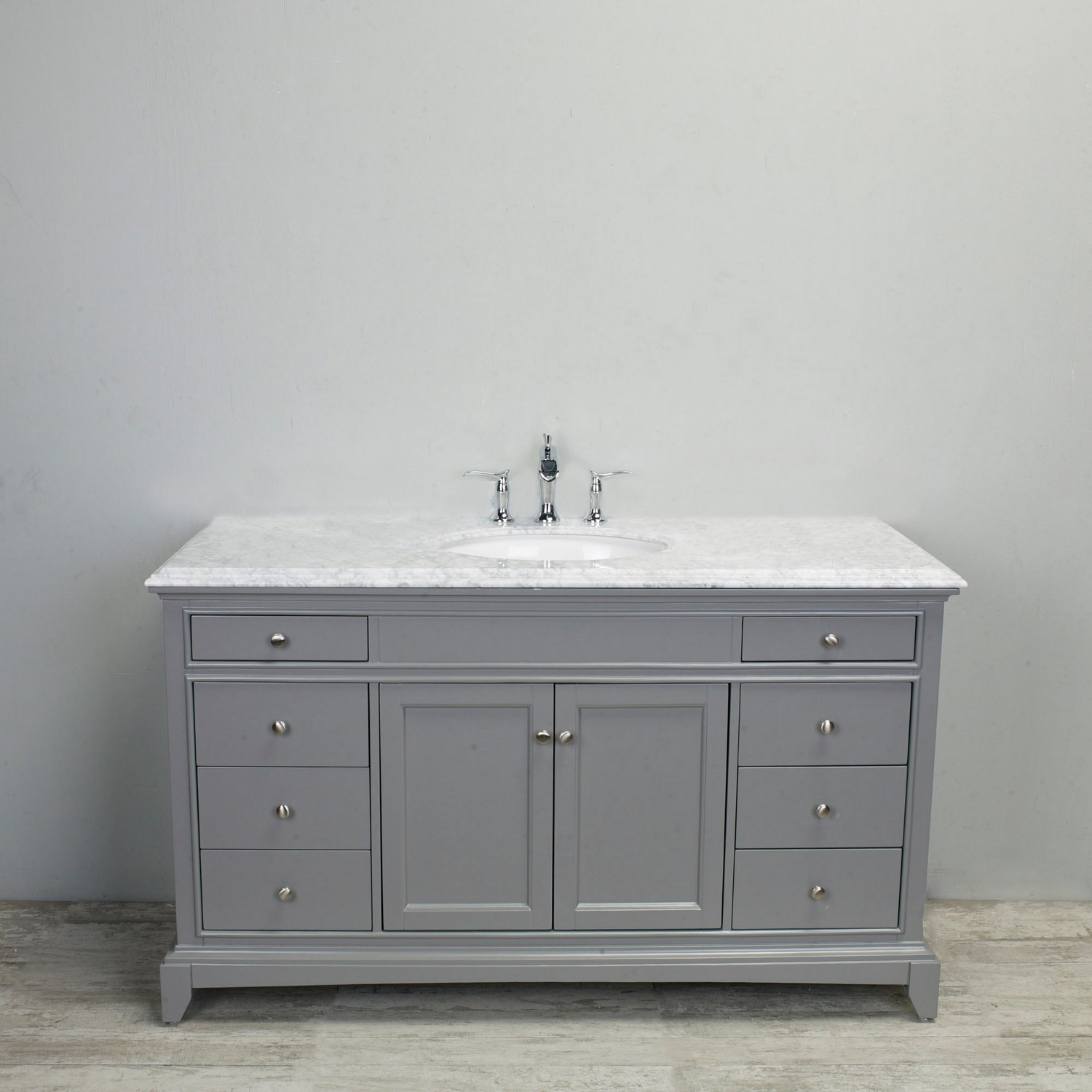 Eviva Elite Stamford 60 Quot Grey Solid Wood Single Bathroom